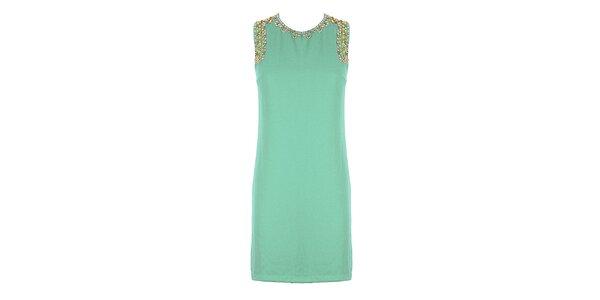 Dámske zelené púzdrové šaty so štrasovými kamienkami Mlle Agathe