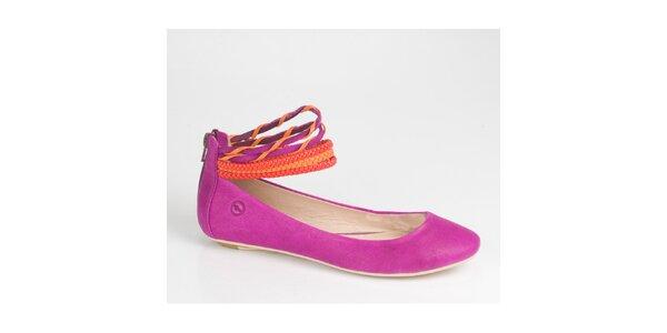 Dámske purpurové balerínky Bronx so štýlovými páskami