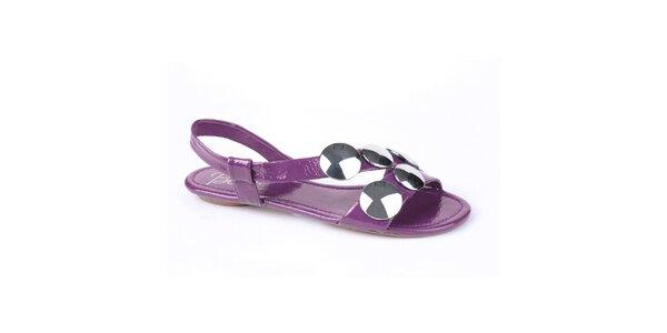 Dámske fialové lakované sandálky Bronx s kovovými plackami