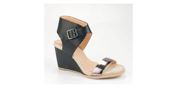 Dámske čierne kožené sandálky Bronx na vysokom kline