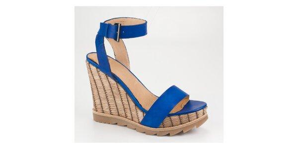 Dámske žiarivo modré sandálky Bronx na vysokom kline