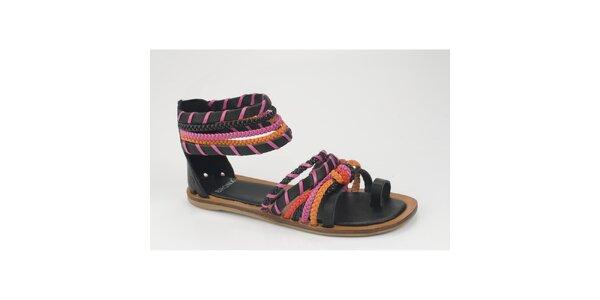 Dámske čierno-ružové kožené sandálky Bronx