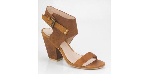 Dámske svetlo hnedé semišové sandálky Bronx
