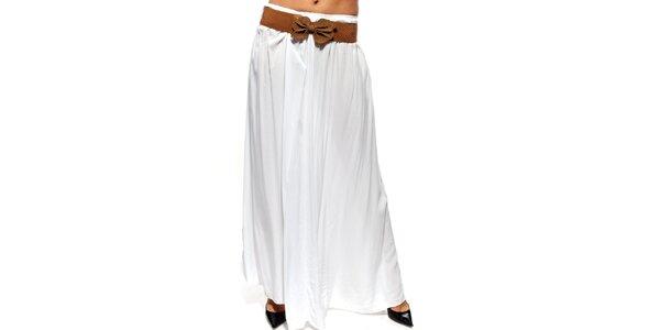 Dámska biela dlhá sukňa s hnedým opaskom Trois Quatorze