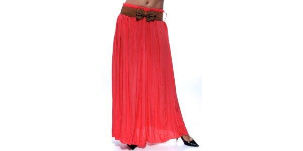 Dámska korálová dlhá sukňa s hnedým opaskom Trois Quatorze