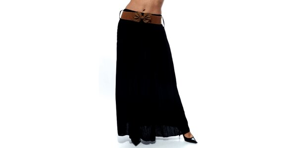 Dámska čierna dlhá sukňa s hnedým opaskom Trois Quatorze