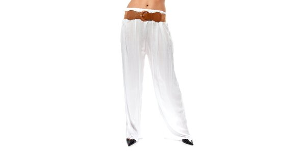 Dámske biele voľné nohavice s opaskom Trois Quatorze