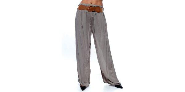 Dámske šedé voľné nohavice s opaskom Trois Quatorze