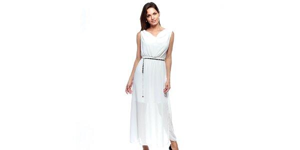 Dámske dlhé biele dvojvrstvové šaty Trois Quatorze so strieborným opaskom