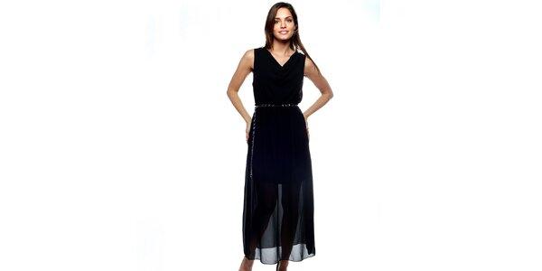 Dámske dlhé čierne dvojvrstvové šaty Trois Quatorze so strieborným opaskom