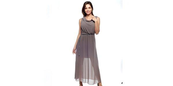 Dámske dlhé hnedošedé dvojvrstvové šaty Trois Quatorze so strieborným opaskom