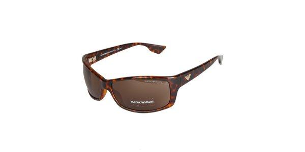 Hnedé leopardíie slnečné okuliare Emporio Armani