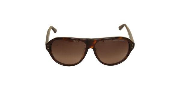 Hnedé slnečné okuliare Emporio Armani