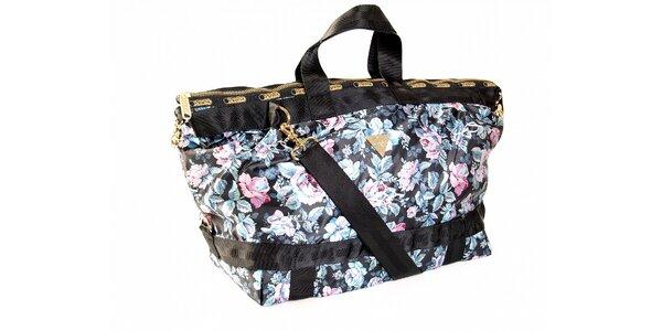 Čierna kabelka s motívom ruží