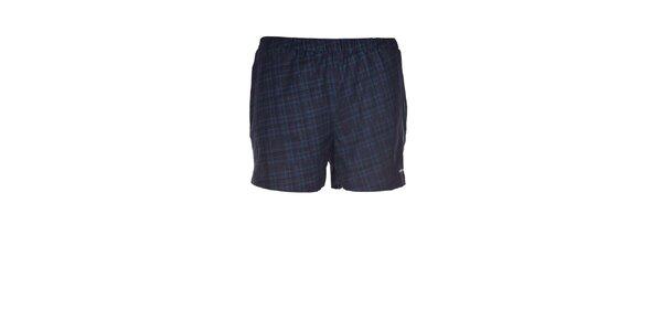 Pánske čierno-modré kockované elastické šortky Envy