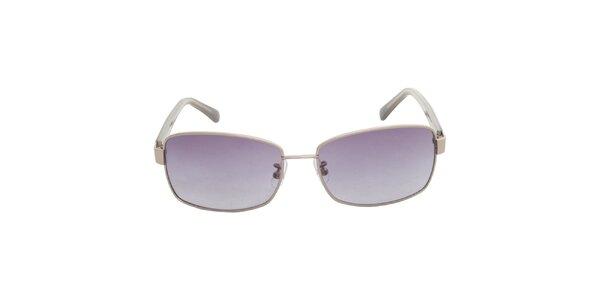 Dámske strieborné slnečné okuliare Calvin Klein s fialovými sklami