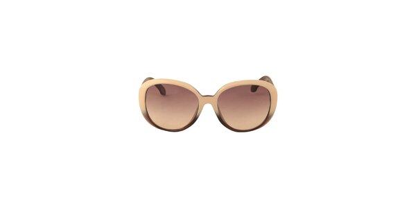 Dámske krémovo-hnedé slnečné okuliare