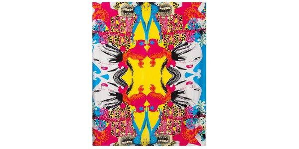 Dámska pestrofarebná hodvábna šatka Custo Barcelona s potlačou