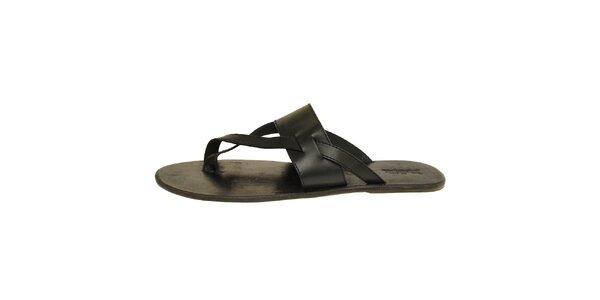 Pánske čierne kožené šľapky Levis