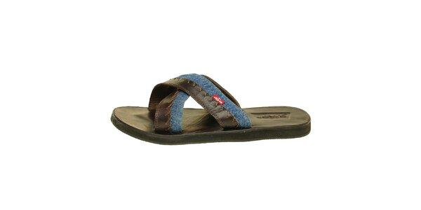 Pánske hnedé kožené sandále Levis s modrým denimovým prúžkom