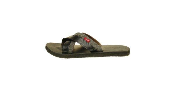 Pánske čierne kožené sandále Levis s šedým denimovým prúžkom