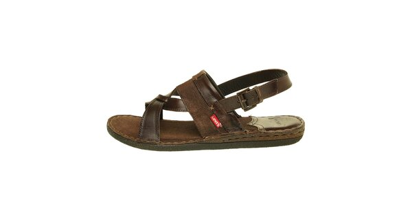 Pánske tmavo hnedé sandále Levis
