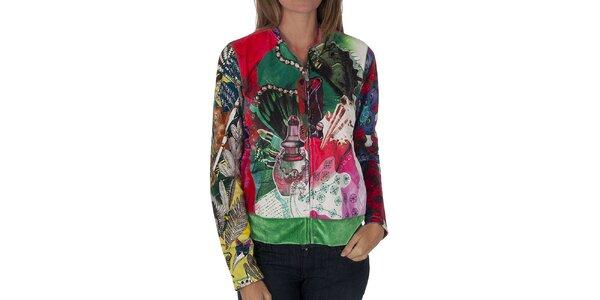 Dámsky pestrofarebný kabátik Custo Barcelona s potlačou
