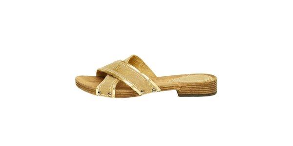 Dámske béžové textilné šľapky Levis so zlatým lemom