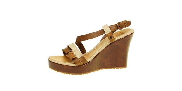 Dámske hnedo-béžové sandálky na platforme Levis