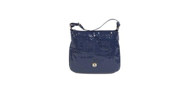 Dámska modrá lakovaná kabelka s monogramom Roccobarocco