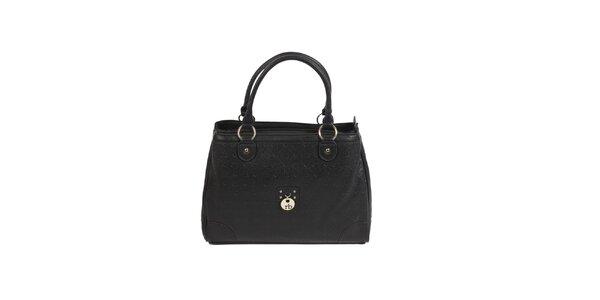 Dámska čierna kabelka s monogramom Roccobarocco