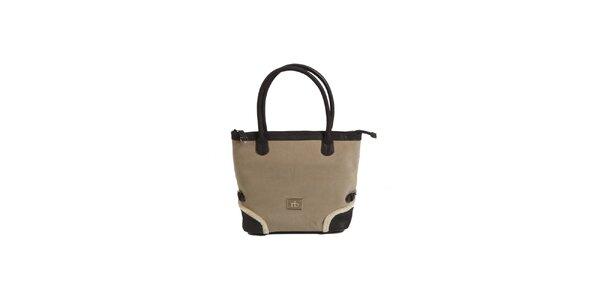 Dámska béžovo-hnedá kabelka s kožúškovým lemom Roccobarocco