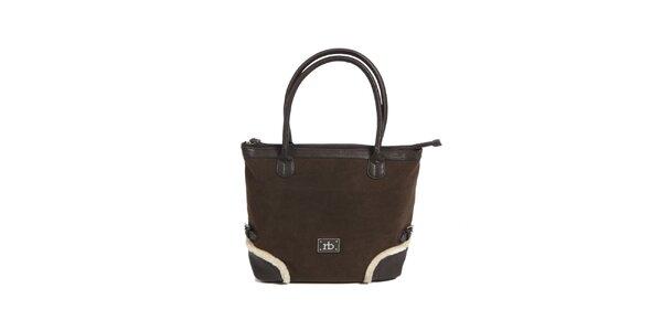 Dámska hnedá kabelka s kožúškovým lemom Roccobarocco