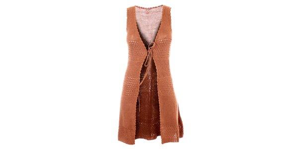 Dámska dlhá hnedá háčkovaná vesta Phard