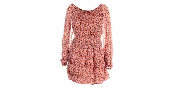 Dámske červené hodvábne šaty Phard s jemným kvetinovým vzorom
