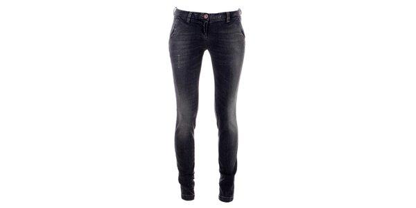 Dámske šedo-čierne úzke džínsy Phard