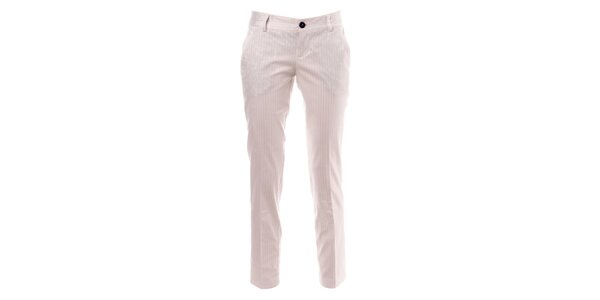 Biele pruhované nohavice s pukmi Phard