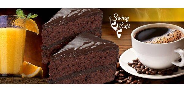 Káva, koláčik a svieži fresh v Swing Café