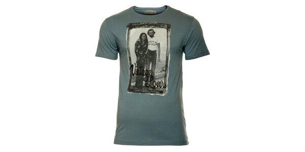 Pánske tyrkysové tričko s vintage potlačou ZU elements