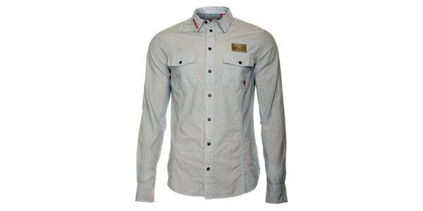 Pánska šedá košeľa s dlhými rukávmi ZU elements