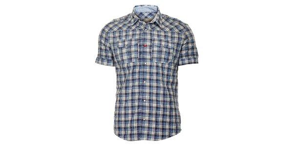 Pánska modrá károvaná košeľa ZU elements