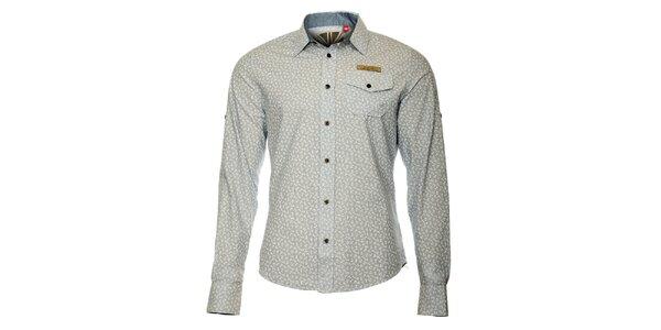 Pánska šedá košeľa s motívom kotvičiek ZU elements