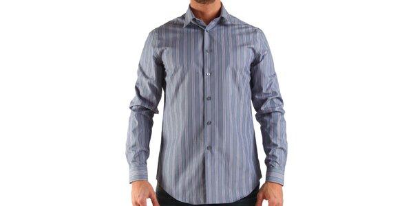 Pánska šedá prúžkovaná košeľa Calvin Klein