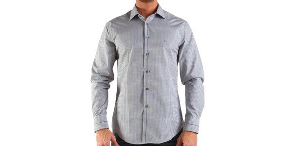 Pánska biela károvaná košeľa Calvin Klein