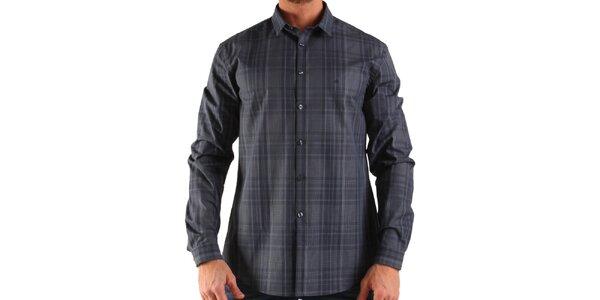 Pánska šedá károvaná košeľa Calvin Klein