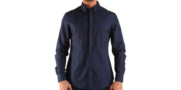 Pánska tmavo modrá košeľa s dlhým rukávom Calvin Klein