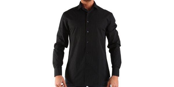 Pánska čierna košeľa s prúžkom Calvin Klein