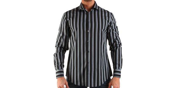 Pánska čierno-biela pruhovaná košeľa Calvin Klein
