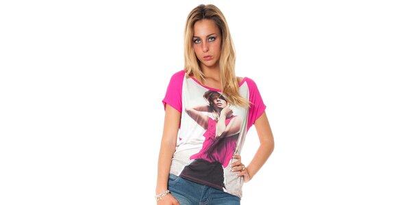 Dámske ružové tričko s potiskom Bella Rosa