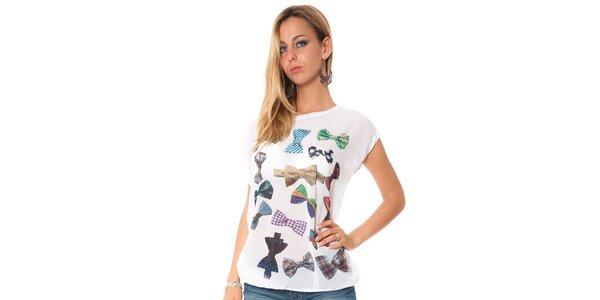 Dámske biele tričko s potiskom motýlkov Bella Rosa
